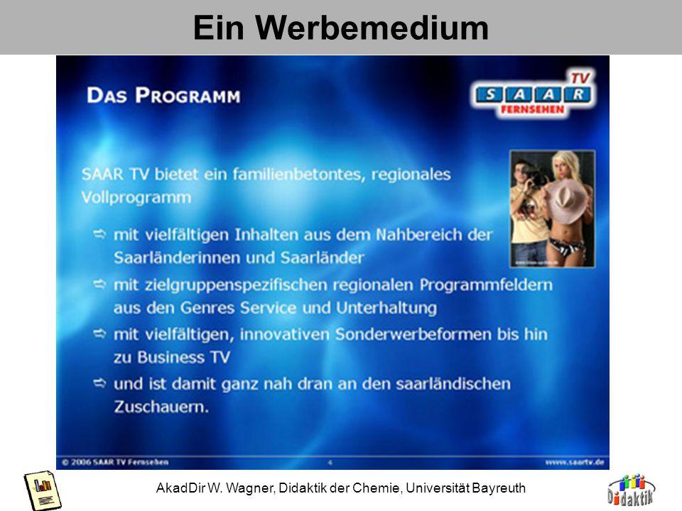 AkadDir W. Wagner, Didaktik der Chemie, Universität Bayreuth Werben und Verkaufen Firmen- u. ProduktbindungLogo, Kennfarben Suggerieren von Qualität (