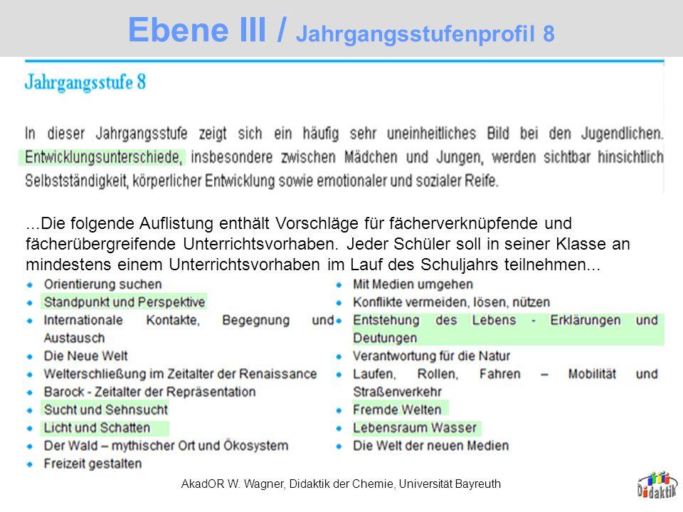 AkadOR W. Wagner, Didaktik der Chemie, Universität Bayreuth Ebene III / Jahrgangsstufenprofil 8...Die folgende Auflistung enthält Vorschläge für fäche