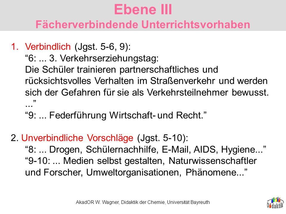 AkadOR W. Wagner, Didaktik der Chemie, Universität Bayreuth 1.Verbindlich (Jgst. 5-6, 9): 6:... 3. Verkehrserziehungstag: Die Schüler trainieren partn