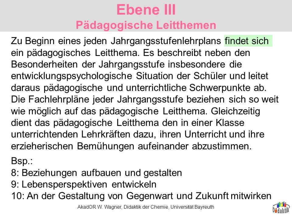 AkadOR W. Wagner, Didaktik der Chemie, Universität Bayreuth Ebene III Pädagogische Leitthemen Bsp.: 8: Beziehungen aufbauen und gestalten 9: Lebensper