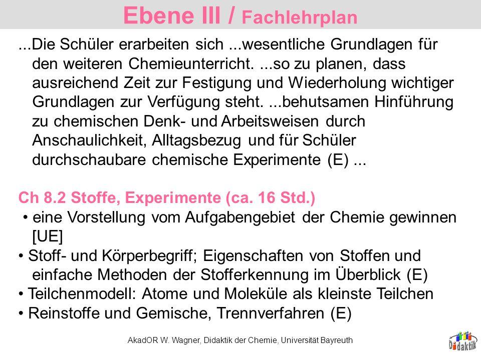 AkadOR W. Wagner, Didaktik der Chemie, Universität Bayreuth...Die Schüler erarbeiten sich...wesentliche Grundlagen für den weiteren Chemieunterricht..