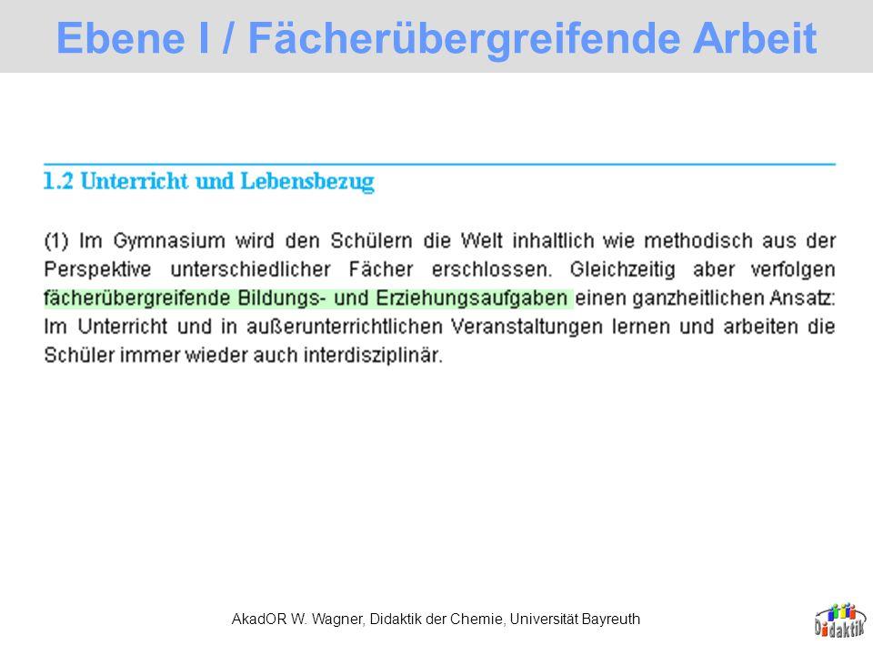 AkadOR W. Wagner, Didaktik der Chemie, Universität Bayreuth Ebene I / Fächerübergreifende Arbeit