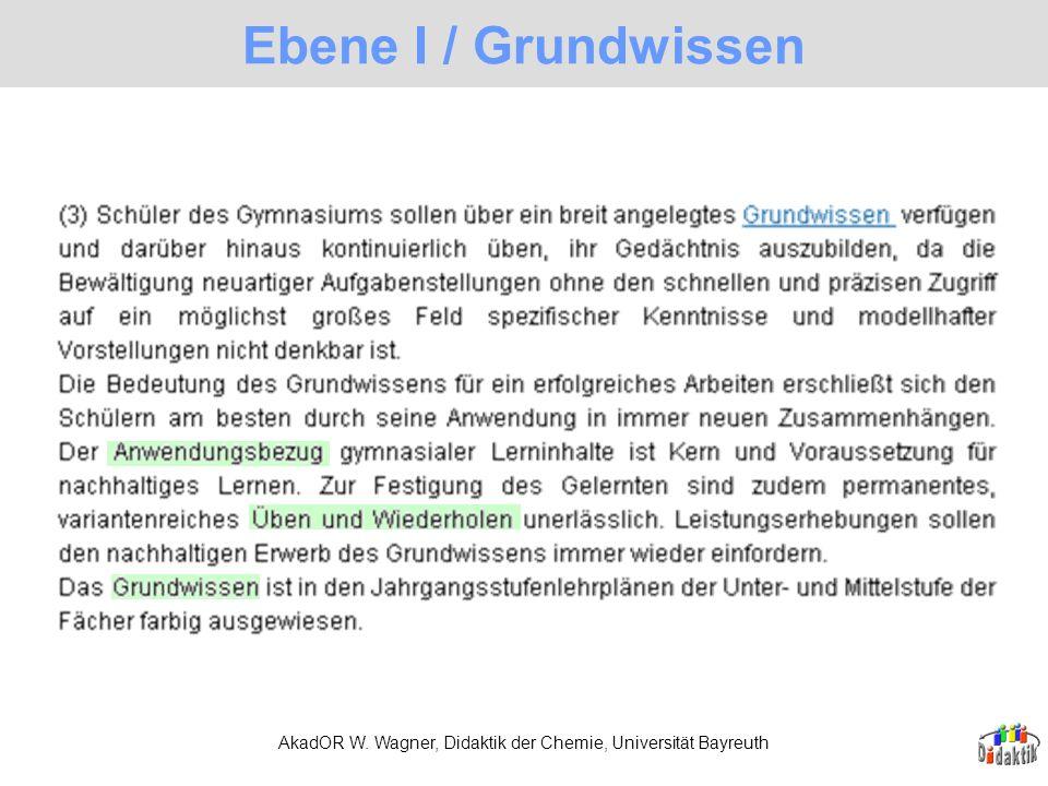 AkadOR W. Wagner, Didaktik der Chemie, Universität Bayreuth Ebene I / Grundwissen