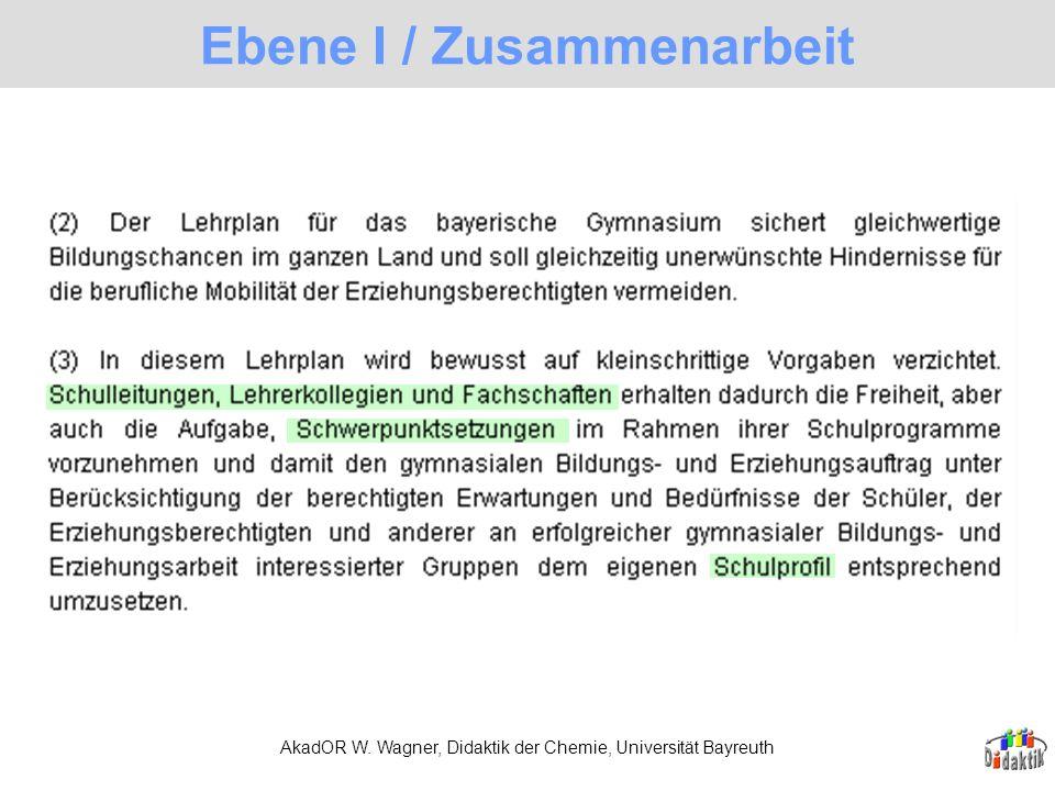 AkadOR W. Wagner, Didaktik der Chemie, Universität Bayreuth Ebene I / Zusammenarbeit