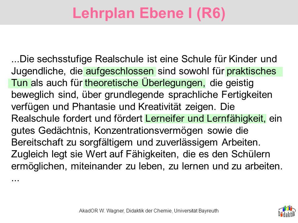 AkadOR W. Wagner, Didaktik der Chemie, Universität Bayreuth Lehrplan Ebene I (R6)...Die sechsstufige Realschule ist eine Schule für Kinder und Jugendl
