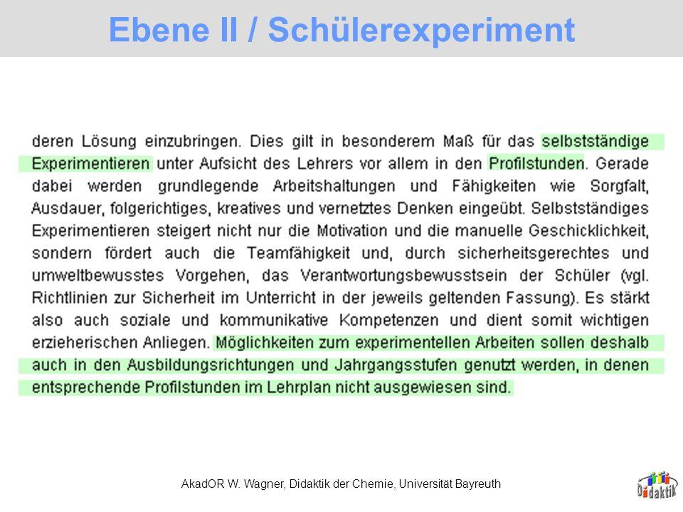 AkadOR W. Wagner, Didaktik der Chemie, Universität Bayreuth Ebene II / Schülerexperiment
