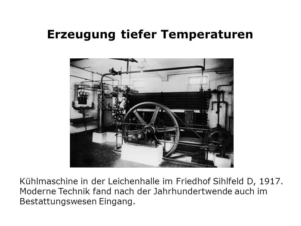 Kühlmaschine in der Leichenhalle im Friedhof Sihlfeld D, 1917. Moderne Technik fand nach der Jahrhundertwende auch im Bestattungswesen Eingang. Erzeug