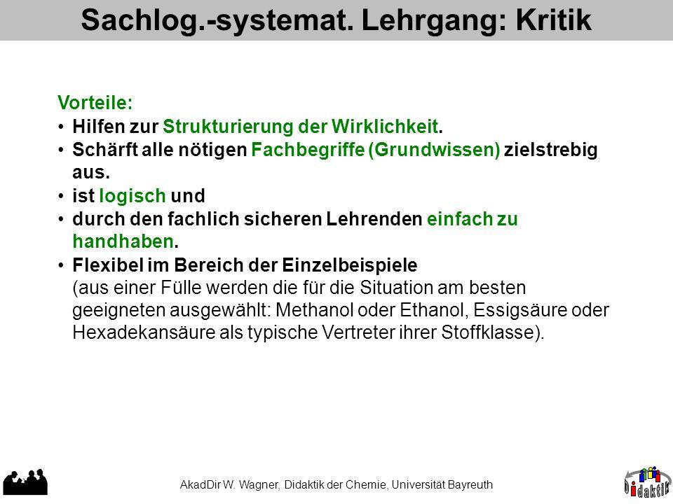AkadDir W. Wagner, Didaktik der Chemie, Universität Bayreuth Sachlog.-systemat. Lehrgang: Kritik Vorteile: Hilfen zur Strukturierung der Wirklichkeit.