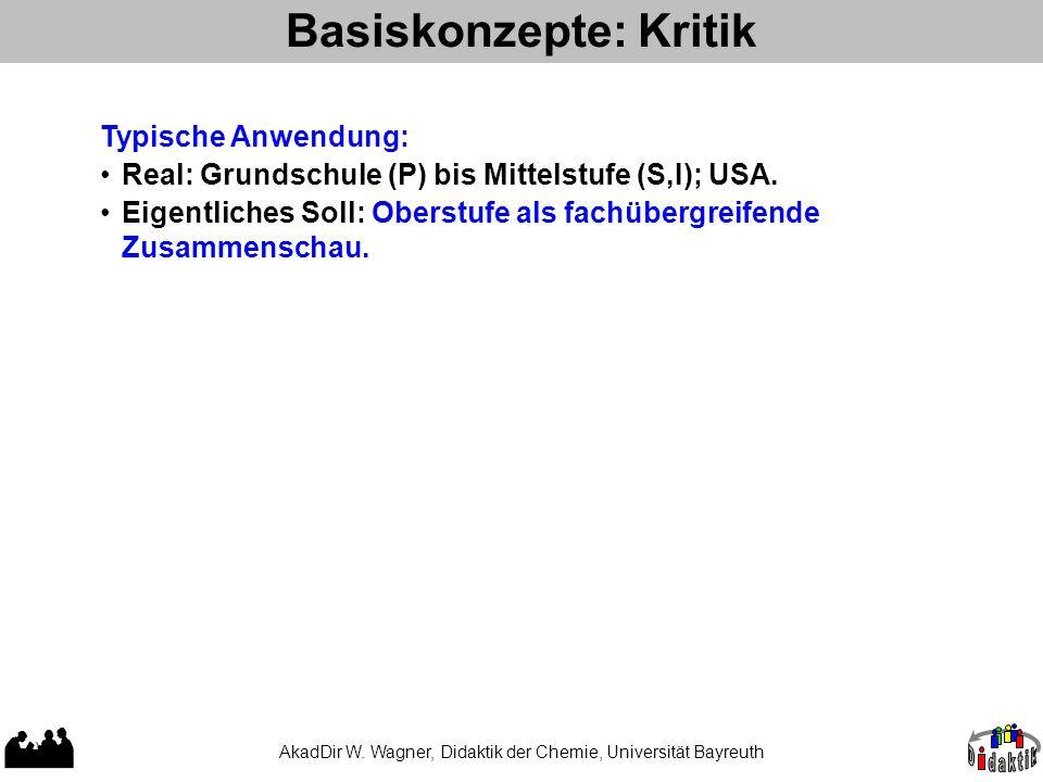 Basiskonzepte: Kritik Typische Anwendung: Real: Grundschule (P) bis Mittelstufe (S,I); USA. Eigentliches Soll: Oberstufe als fachübergreifende Zusamme