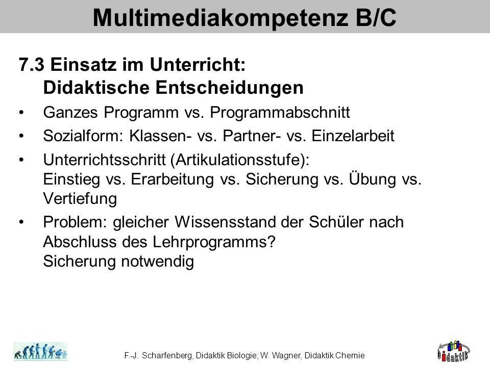 Multimediakompetenz B/C 7.3 Einsatz im Unterricht: Didaktische Entscheidungen Ganzes Programm vs. Programmabschnitt Sozialform: Klassen- vs. Partner-