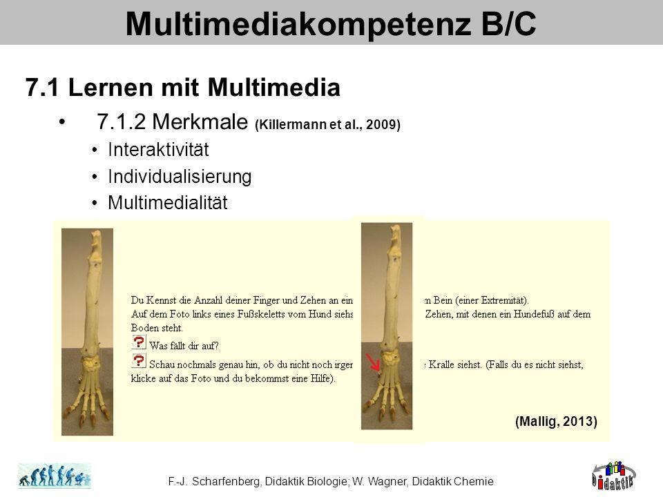 Multimediakompetenz B/C 7.1 Lernen mit Multimedia 7.1.2 Merkmale (Killermann et al., 2009) Interaktivität Individualisierung Multimedialität F.-J. Sch