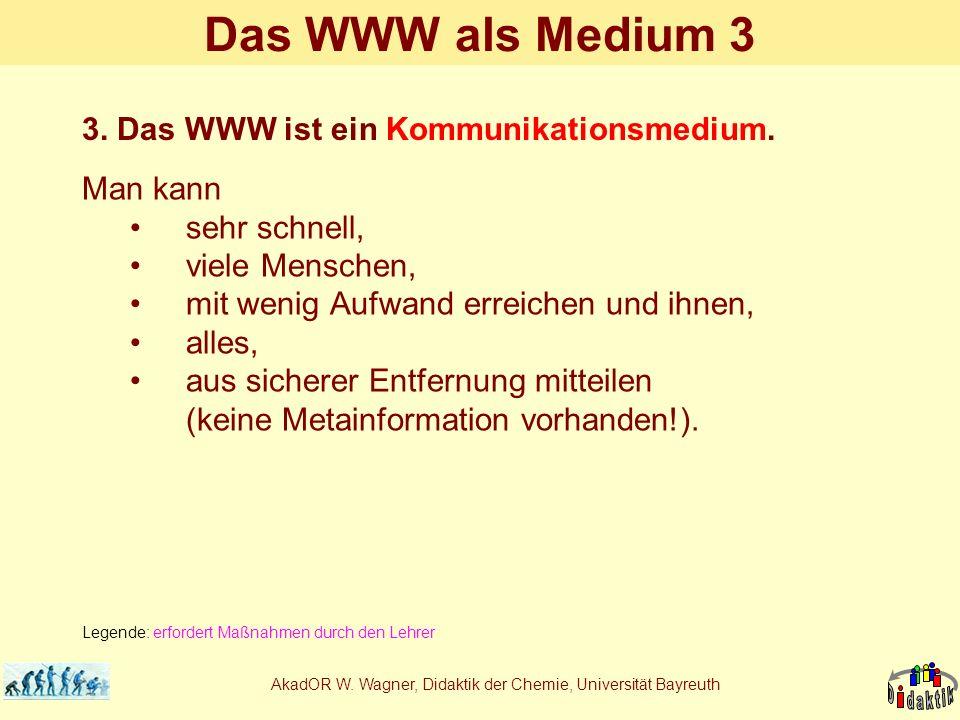 AkadOR W. Wagner, Didaktik der Chemie, Universität Bayreuth Das WWW als Medium 3 Man kann sehr schnell, viele Menschen, mit wenig Aufwand erreichen un