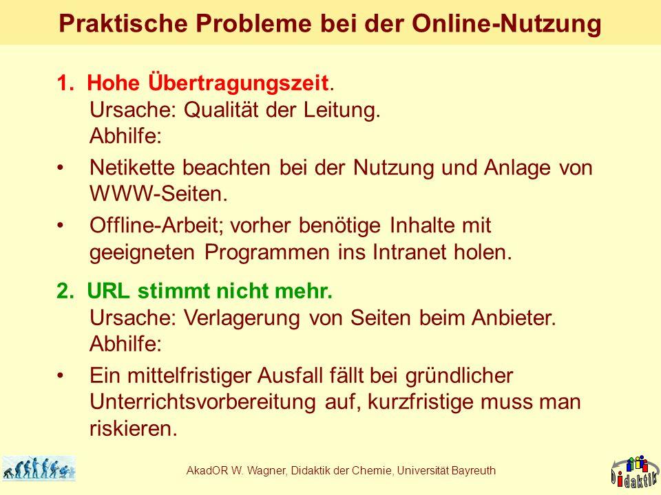 AkadOR W. Wagner, Didaktik der Chemie, Universität Bayreuth Praktische Probleme bei der Online-Nutzung 1. Hohe Übertragungszeit. Ursache: Qualität der