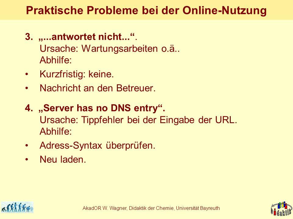 AkadOR W. Wagner, Didaktik der Chemie, Universität Bayreuth Praktische Probleme bei der Online-Nutzung 3....antwortet nicht.... Ursache: Wartungsarbei