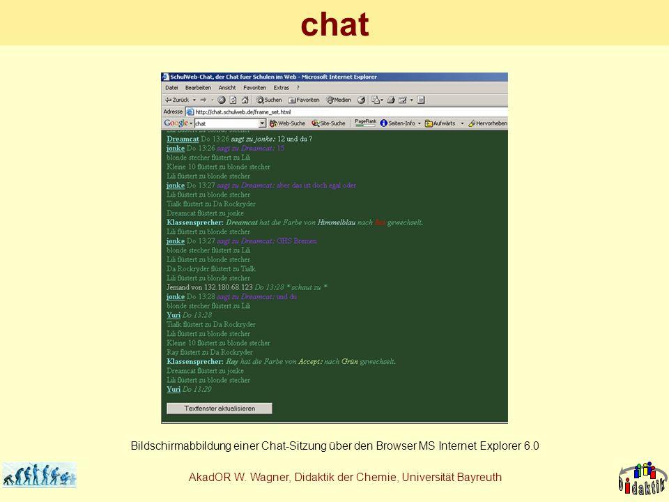 AkadOR W. Wagner, Didaktik der Chemie, Universität Bayreuth chat Bildschirmabbildung einer Chat-Sitzung über den Browser MS Internet Explorer 6.0