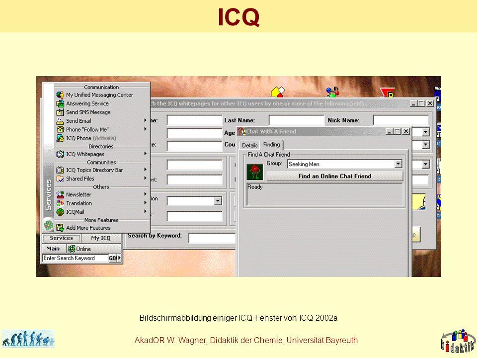 AkadOR W. Wagner, Didaktik der Chemie, Universität Bayreuth ICQ Bildschirmabbildung einiger ICQ-Fenster von ICQ 2002a