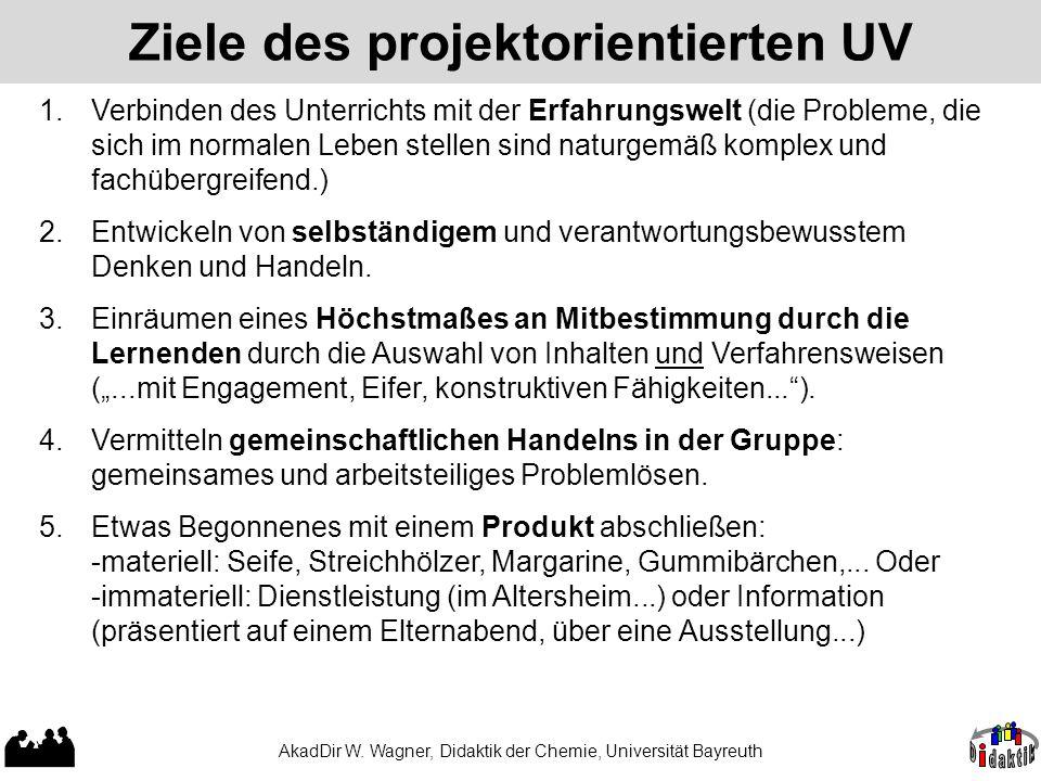 AkadDir W. Wagner, Didaktik der Chemie, Universität Bayreuth Ziele des projektorientierten UV 1.Verbinden des Unterrichts mit der Erfahrungswelt (die