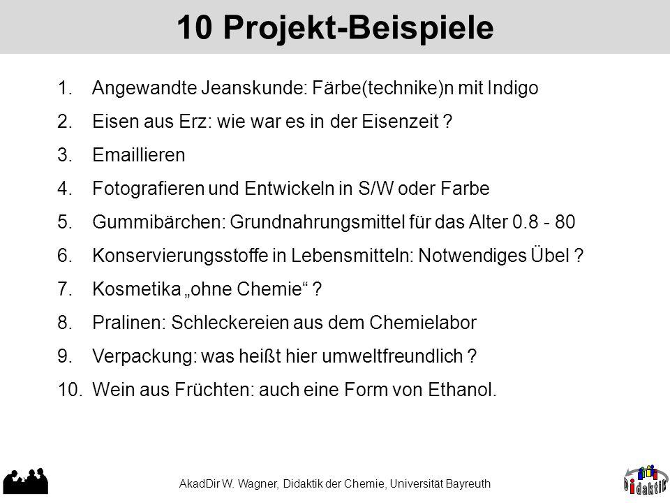 AkadDir W. Wagner, Didaktik der Chemie, Universität Bayreuth 10 Projekt-Beispiele 1.Angewandte Jeanskunde: Färbe(technike)n mit Indigo 2.Eisen aus Erz