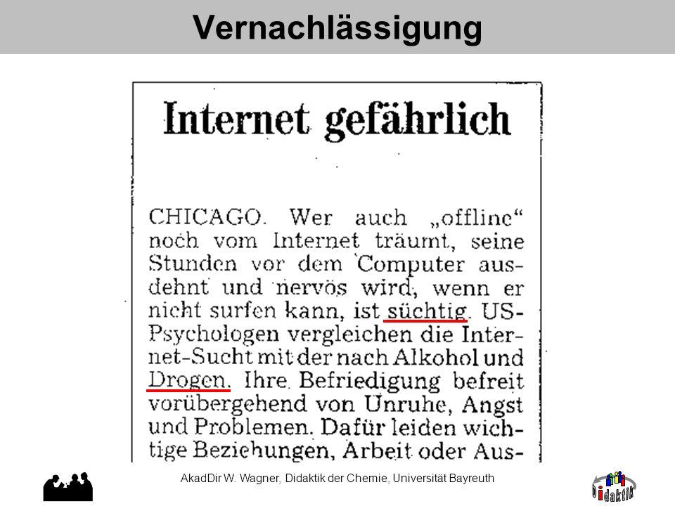 Vernachlässigung AkadDir W. Wagner, Didaktik der Chemie, Universität Bayreuth