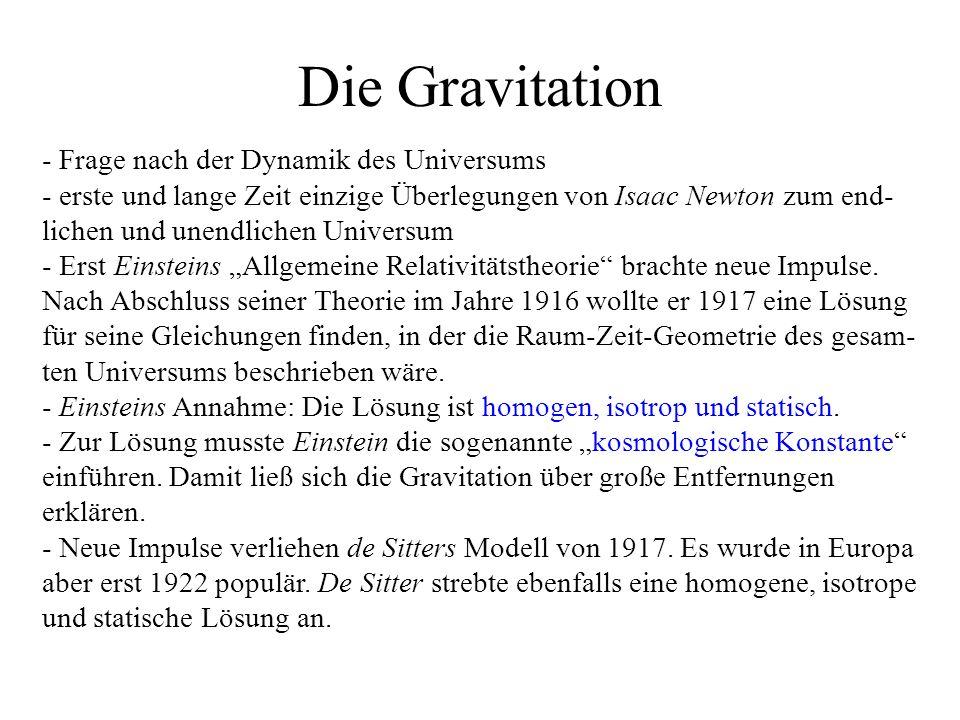 Die Gravitation - Frage nach der Dynamik des Universums - erste und lange Zeit einzige Überlegungen von Isaac Newton zum end- lichen und unendlichen Universum - Erst Einsteins Allgemeine Relativitätstheorie brachte neue Impulse.