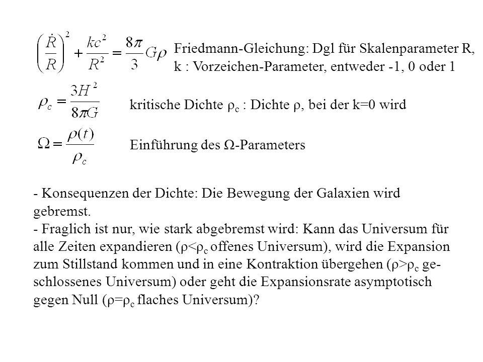 Friedmann-Gleichung: Dgl für Skalenparameter R, k : Vorzeichen-Parameter, entweder -1, 0 oder 1 kritische Dichte ρ c : Dichte ρ, bei der k=0 wird Einführung des Ω-Parameters - Konsequenzen der Dichte: Die Bewegung der Galaxien wird gebremst.