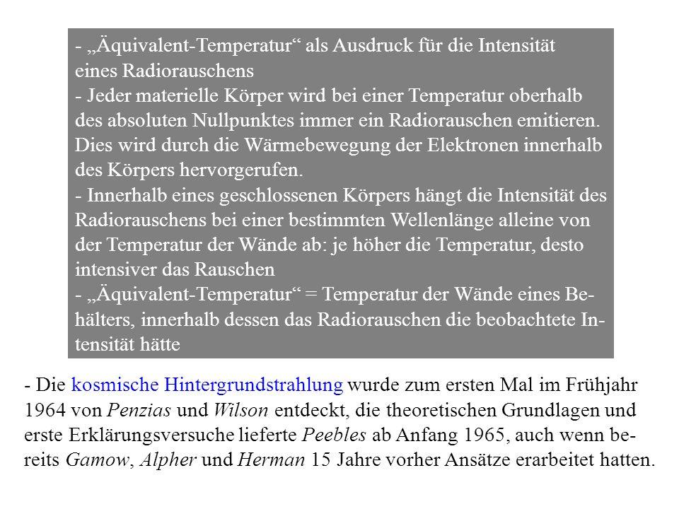 - Äquivalent-Temperatur als Ausdruck für die Intensität eines Radiorauschens - Jeder materielle Körper wird bei einer Temperatur oberhalb des absoluten Nullpunktes immer ein Radiorauschen emitieren.
