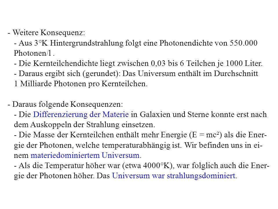 - Weitere Konsequenz: - Aus 3°K Hintergrundstrahlung folgt eine Photonendichte von 550.000 Photonen/l. - Die Kernteilchendichte liegt zwischen 0,03 bi