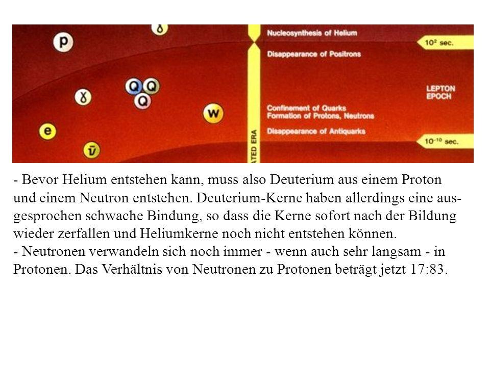 - Bevor Helium entstehen kann, muss also Deuterium aus einem Proton und einem Neutron entstehen. Deuterium-Kerne haben allerdings eine aus- gesprochen