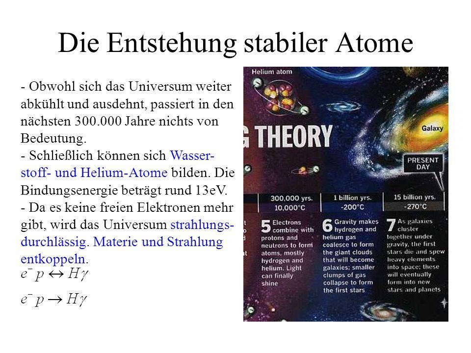Die Entstehung stabiler Atome - Obwohl sich das Universum weiter abkühlt und ausdehnt, passiert in den nächsten 300.000 Jahre nichts von Bedeutung.