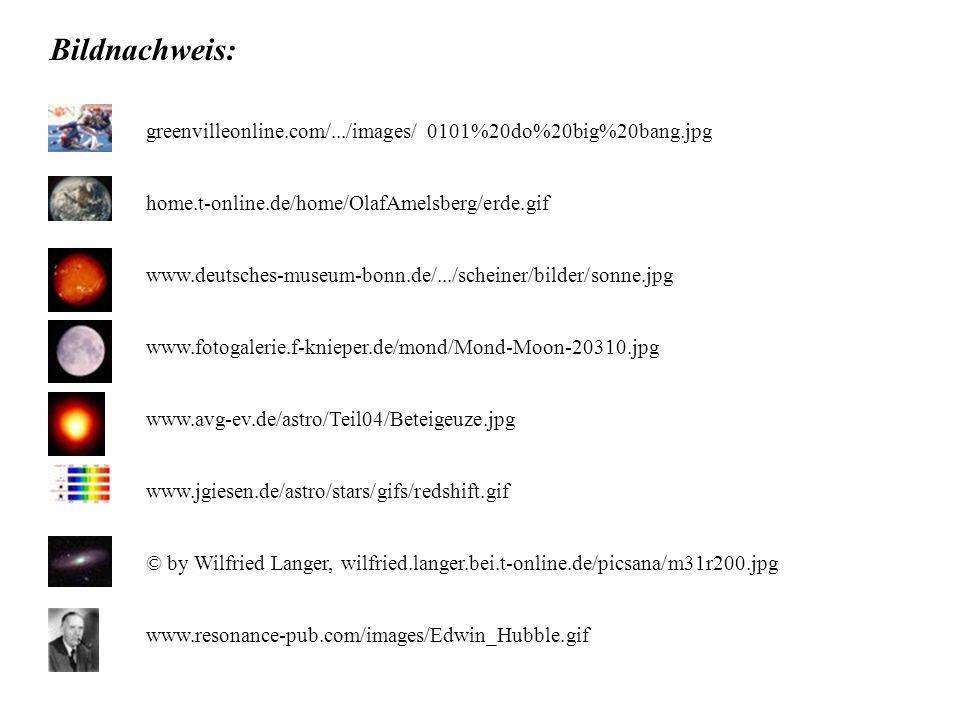Bildnachweis: greenvilleonline.com/.../images/ 0101%20do%20big%20bang.jpg home.t-online.de/home/OlafAmelsberg/erde.gif www.deutsches-museum-bonn.de/..