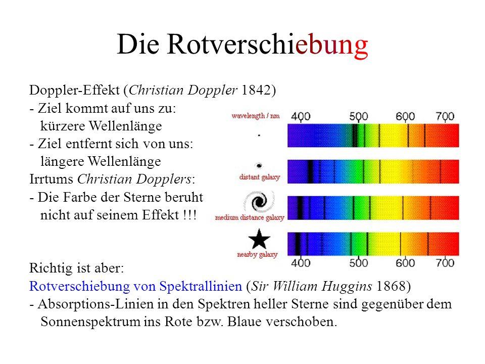 Die Rotverschiebung Doppler-Effekt (Christian Doppler 1842) - Ziel kommt auf uns zu: kürzere Wellenlänge - Ziel entfernt sich von uns: längere Wellenlänge Irrtums Christian Dopplers: - Die Farbe der Sterne beruht nicht auf seinem Effekt !!.