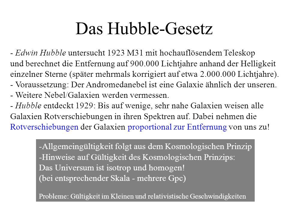 Das Hubble-Gesetz - Edwin Hubble untersucht 1923 M31 mit hochauflösendem Teleskop und berechnet die Entfernung auf 900.000 Lichtjahre anhand der Helligkeit einzelner Sterne (später mehrmals korrigiert auf etwa 2.000.000 Lichtjahre).