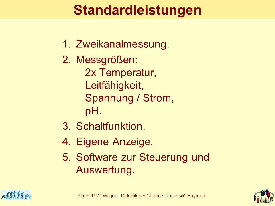 AkadOR W. Wagner, Didaktik der Chemie, Universität Bayreuth Standardleistungen 1.Zweikanalmessung. 2.Messgrößen: 2x Temperatur, Leitfähigkeit, Spannun