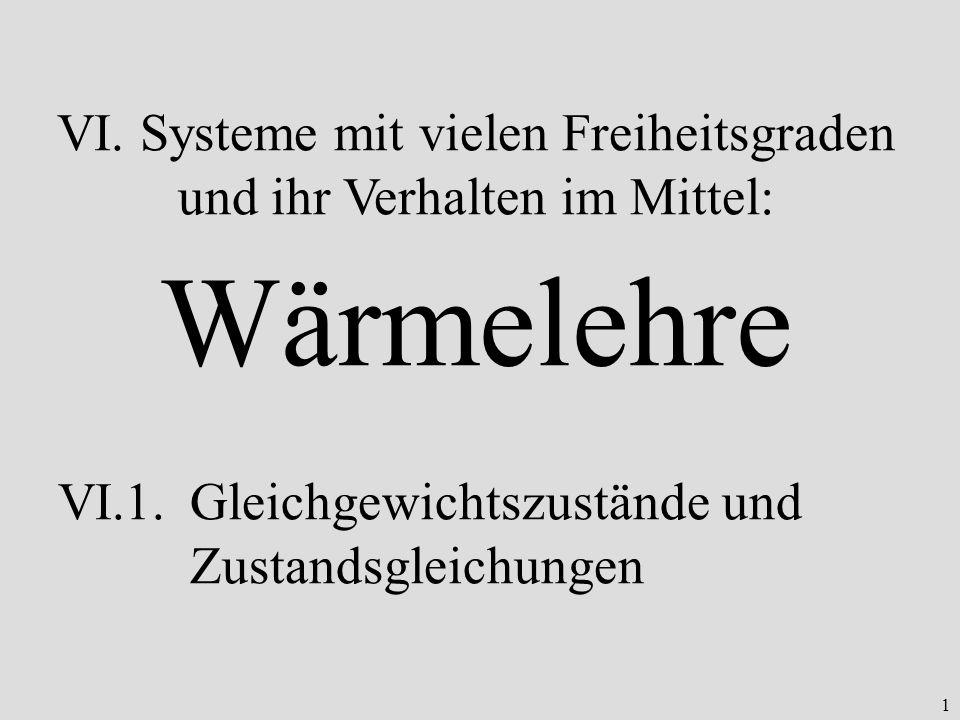 1 VI. Systeme mit vielen Freiheitsgraden und ihr Verhalten im Mittel: Wärmelehre VI.1.Gleichgewichtszustände und Zustandsgleichungen