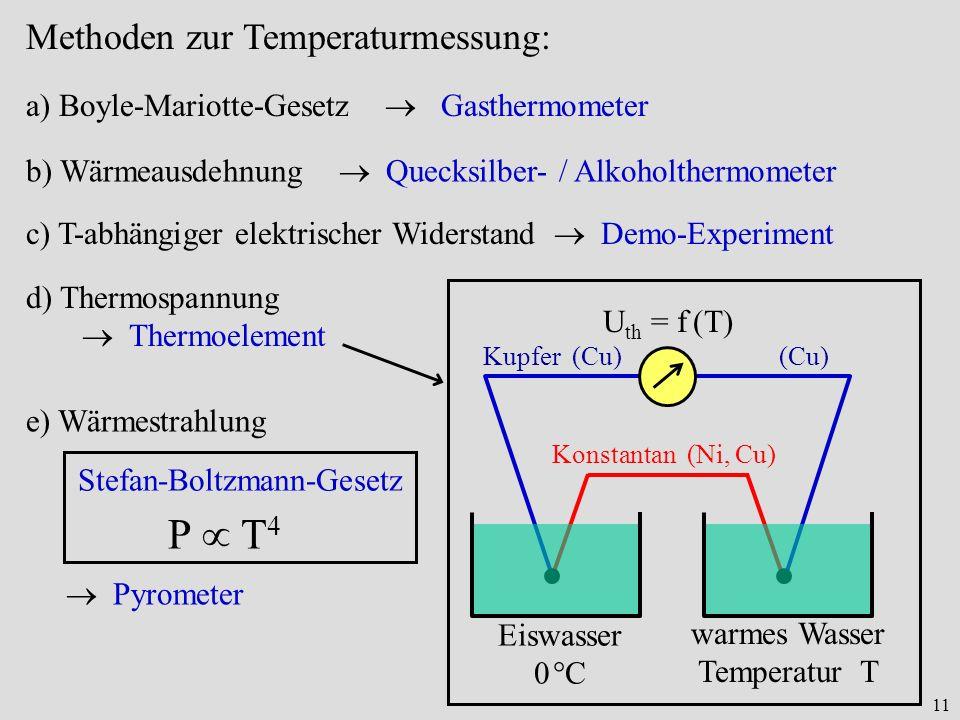 11 Methoden zur Temperaturmessung: b) Wärmeausdehnung Quecksilber- / Alkoholthermometer c) T-abhängiger elektrischer Widerstand Demo-Experiment Eiswas