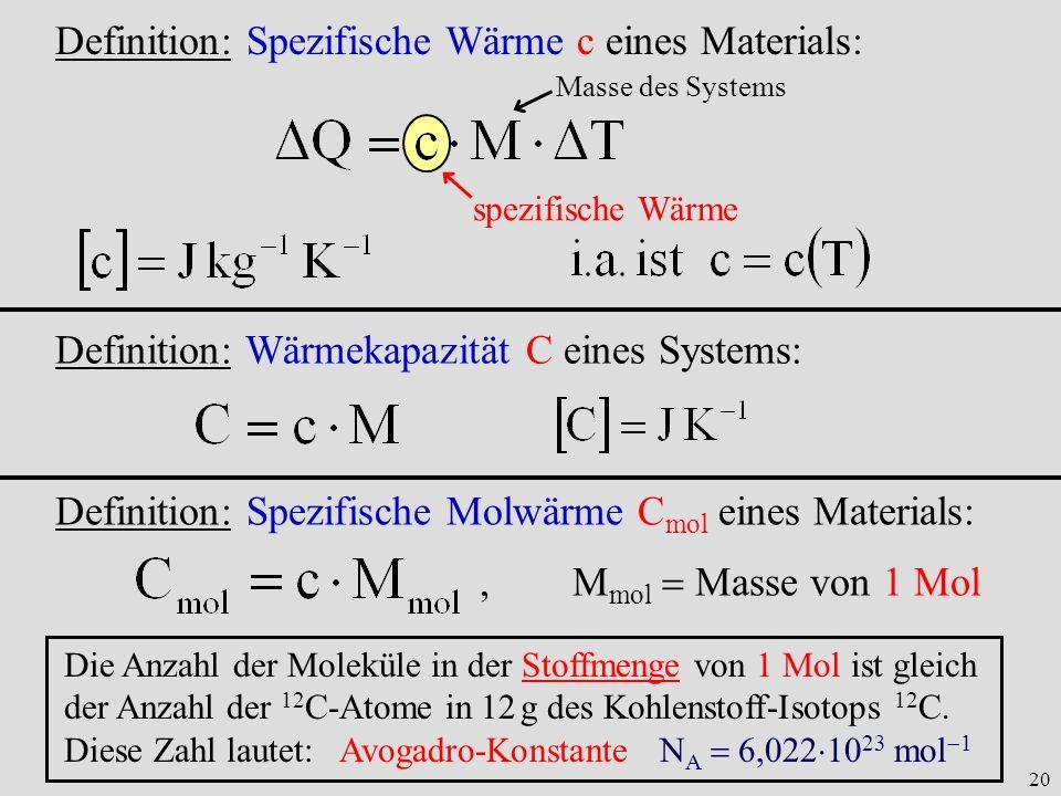 20 Definition: Spezifische Wärme c eines Materials: Masse des Systems spezifische Wärme Definition: Wärmekapazität C eines Systems: Definition: Spezif