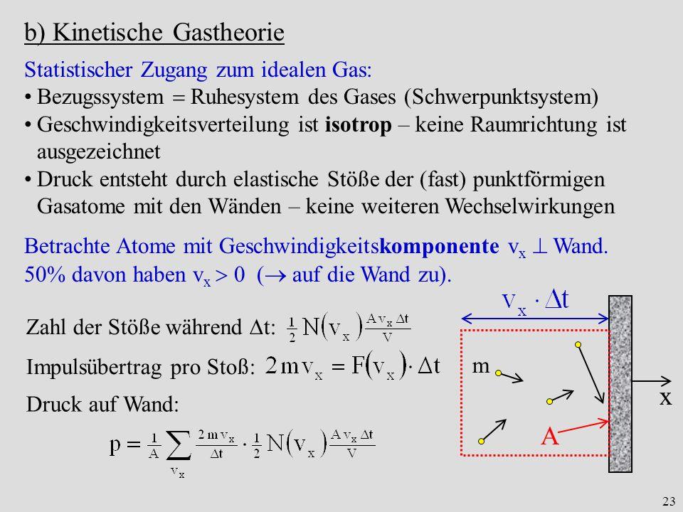 23 b) Kinetische Gastheorie Statistischer Zugang zum idealen Gas: Bezugssystem Ruhesystem des Gases (Schwerpunktsystem) Geschwindigkeitsverteilung ist