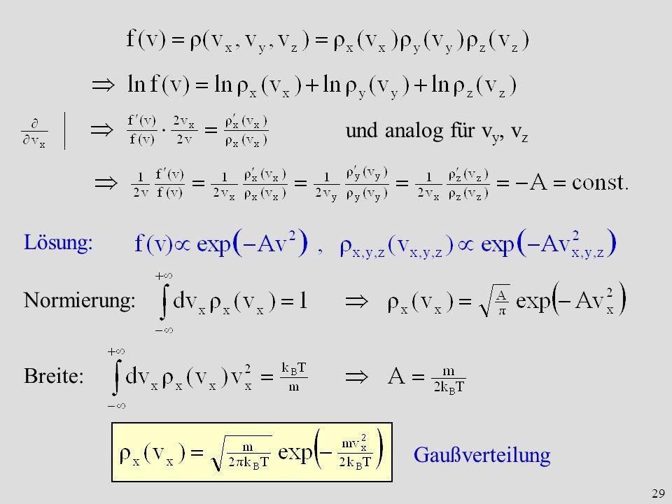 29 und analog für v y, v z Lösung: Normierung:Breite: Gaußverteilung