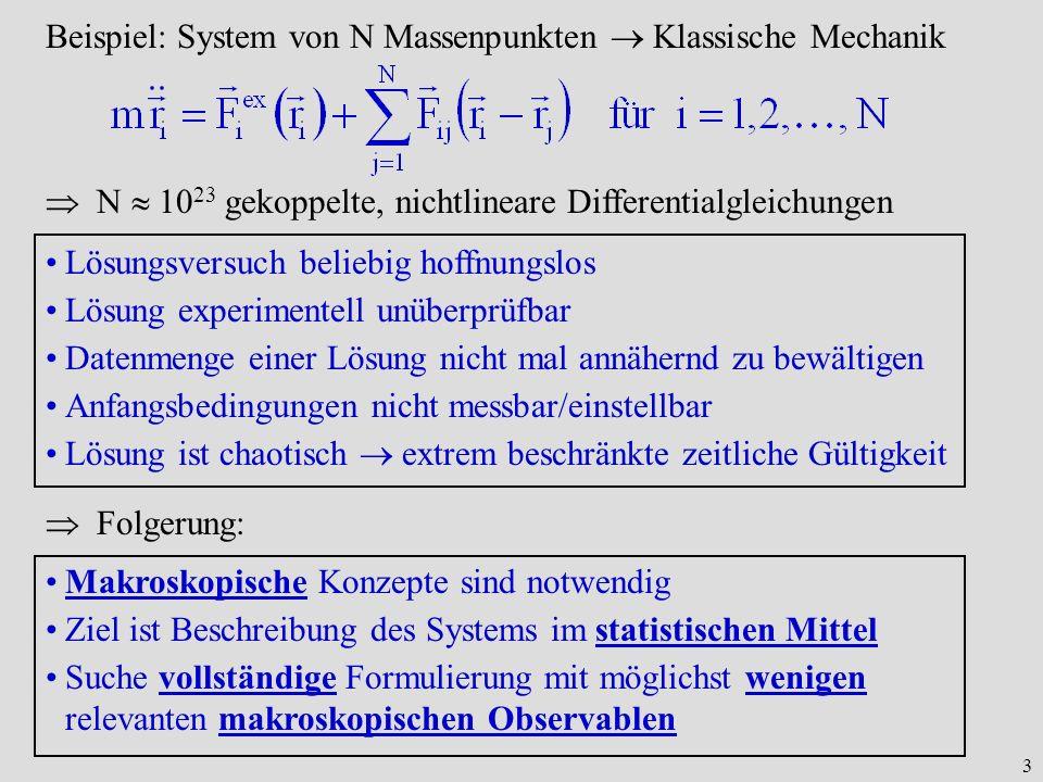 3 Beispiel: System von N Massenpunkten Klassische Mechanik N 10 23 gekoppelte, nichtlineare Differentialgleichungen Lösungsversuch beliebig hoffnungsl
