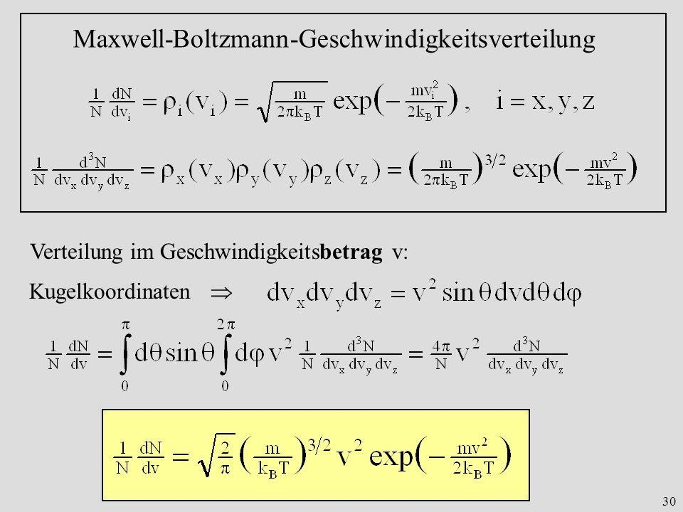 30 Maxwell-Boltzmann-Geschwindigkeitsverteilung Verteilung im Geschwindigkeitsbetrag v: Kugelkoordinaten