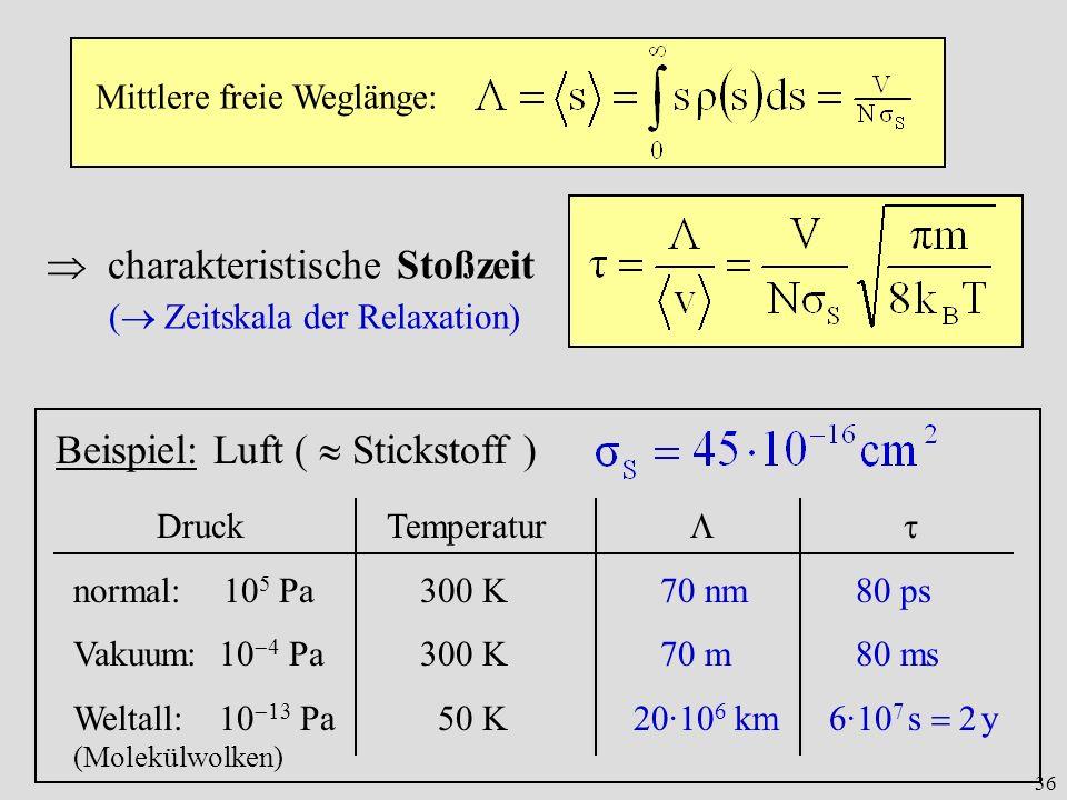36 Mittlere freie Weglänge: charakteristische Stoßzeit ( Zeitskala der Relaxation) Beispiel: Luft ( Stickstoff ) Druck Temperatur normal: 10 5 Pa 300