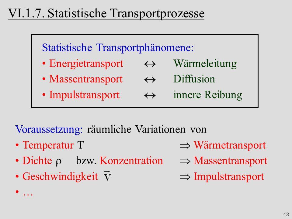 48 VI.1.7. Statistische Transportprozesse Statistische Transportphänomene: Energietransport Wärmeleitung Massentransport Diffusion Impulstransport inn