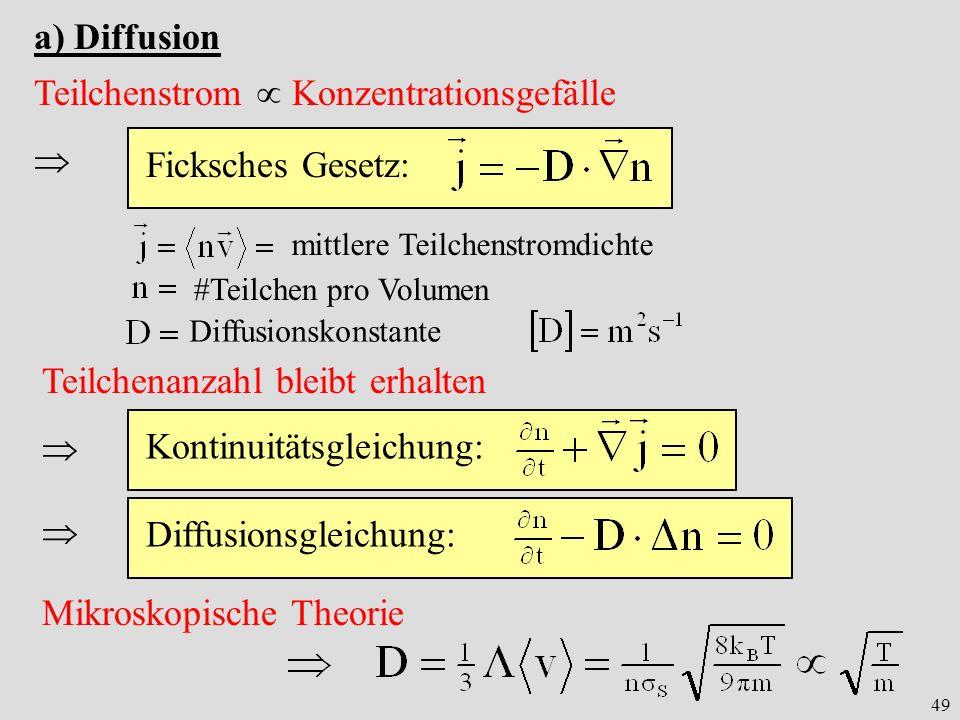 49 a) Diffusion Teilchenstrom Konzentrationsgefälle Ficksches Gesetz: mittlere Teilchenstromdichte #Teilchen pro Volumen Teilchenanzahl bleibt erhalte