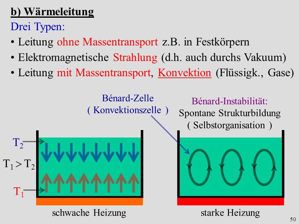 50 b) Wärmeleitung Drei Typen: Leitung ohne Massentransport z.B. in Festkörpern Elektromagnetische Strahlung (d.h. auch durchs Vakuum) Leitung mit Mas