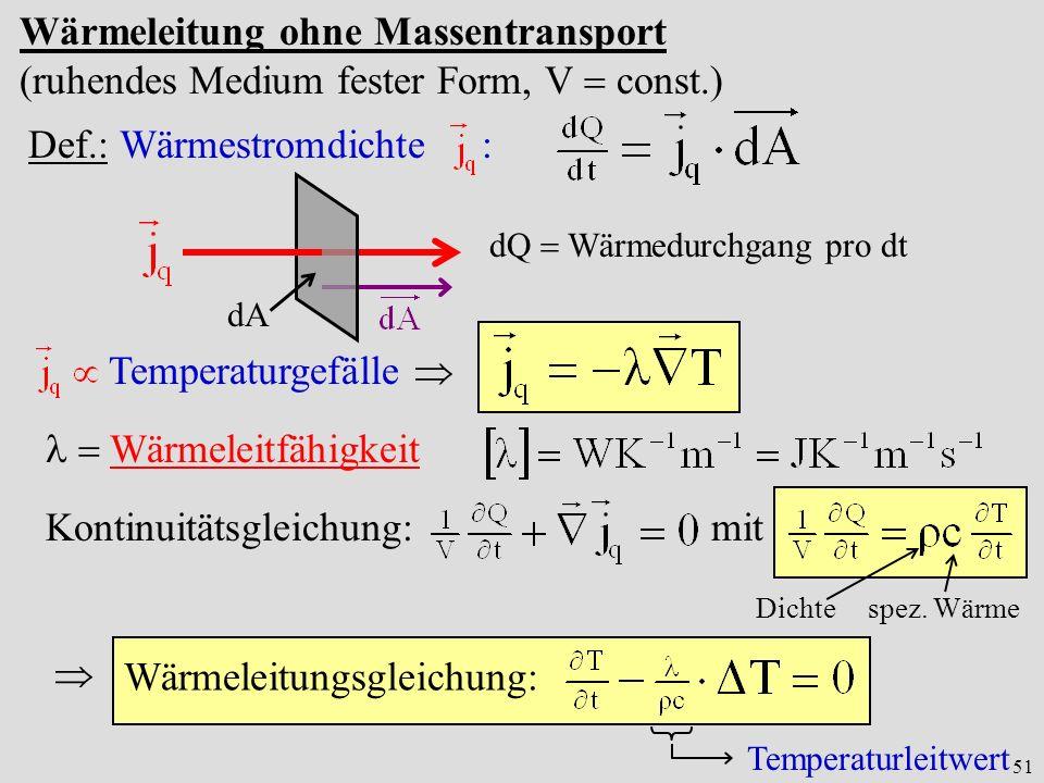 51 Wärmeleitung ohne Massentransport (ruhendes Medium fester Form, V const.) dA dQ Wärmedurchgang pro dt Def.: Wärmestromdichte : Temperaturgefälle Wä
