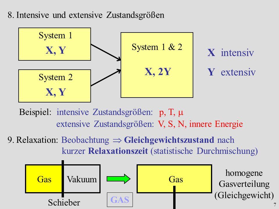 7 GAS 8.Intensive und extensive Zustandsgrößen System 1 X, Y System 2 X, Y System 1 & 2 X, 2Y X intensiv Y extensiv Beispiel: intensive Zustandsgrößen