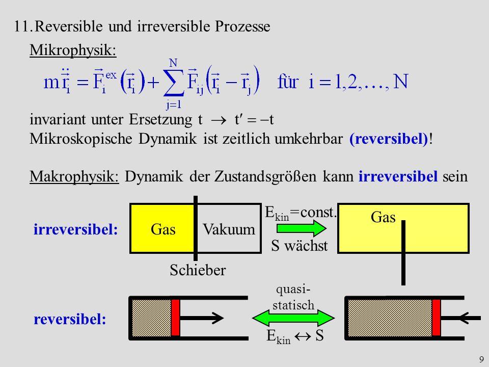9 11.Reversible und irreversible Prozesse Mikrophysik: invariant unter Ersetzung t t t Mikroskopische Dynamik ist zeitlich umkehrbar (reversibel)! Mak