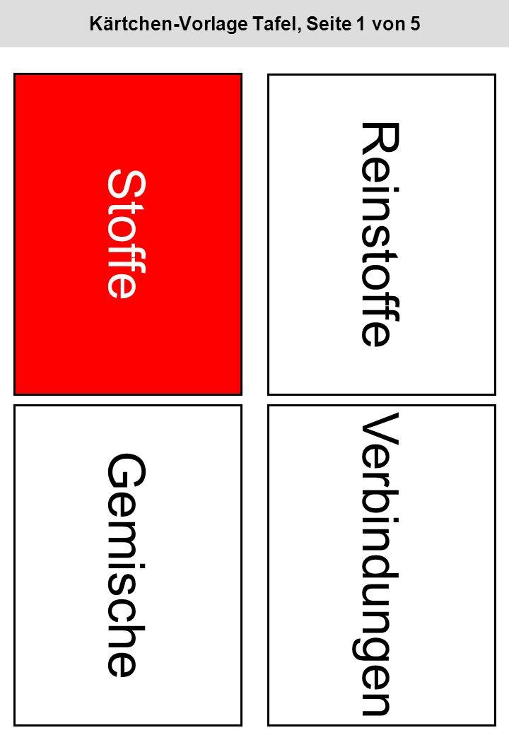 Kärtchen-Vorlage Tafel, Seite 1 von 5 Stoffe Reinstoffe Gemische Verbindungen