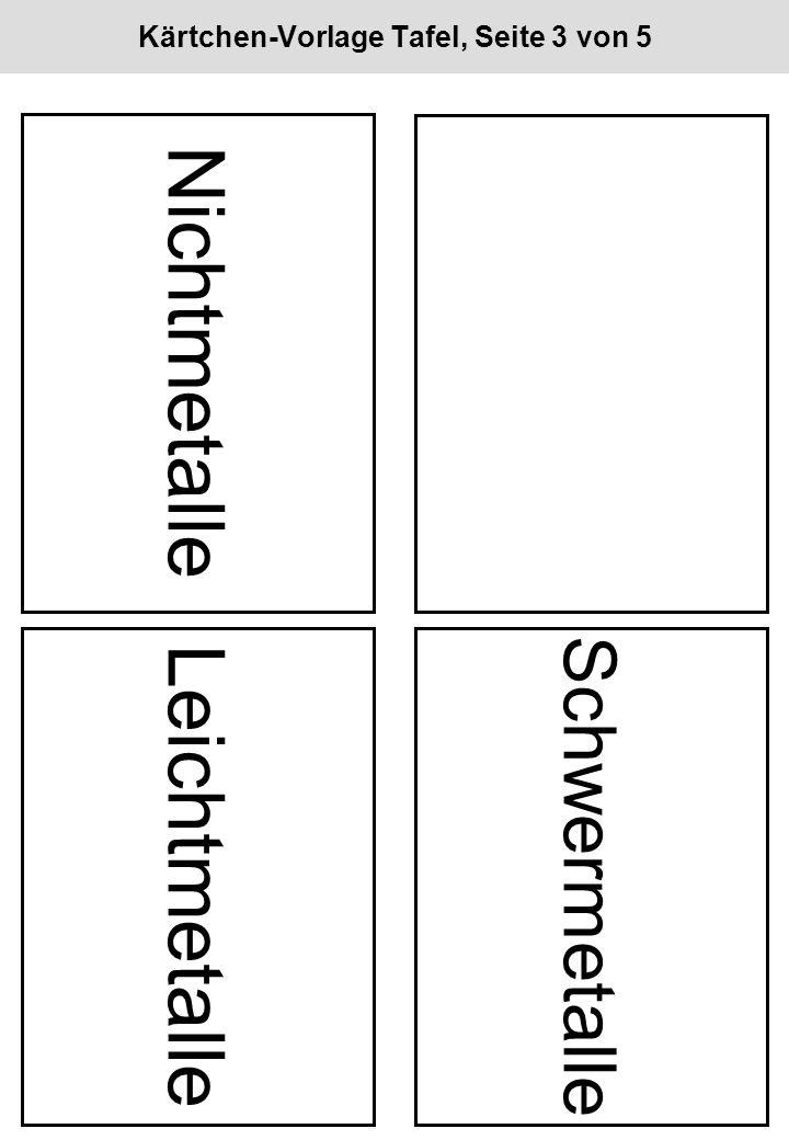 Kärtchen-Vorlage Tafel, Seite 3 von 5 Nichtmetalle Leichtmetalle Schwermetalle