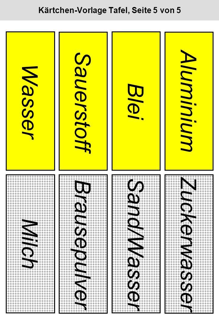 Kärtchen-Vorlage Tafel, Seite 5 von 5 Wasser Sauerstoff Blei Aluminium Milch Brausepulver Sand/Wasser Zuckerwasser